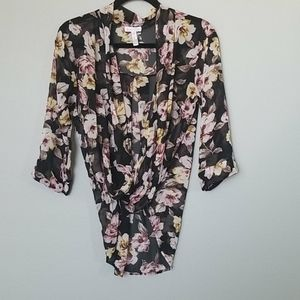 Leith floral wrap front top XS